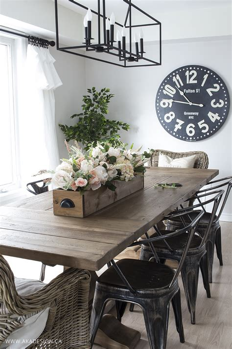 modern farmhouse dining room diy faux floral arrangement feminine yet rustic crate