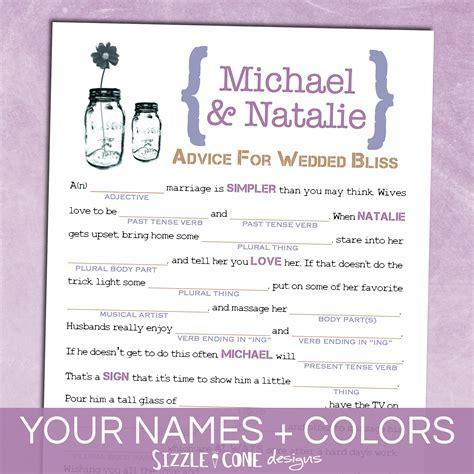 Mason Jar Wedding Mad Lib Guest Book   Marriage Advice