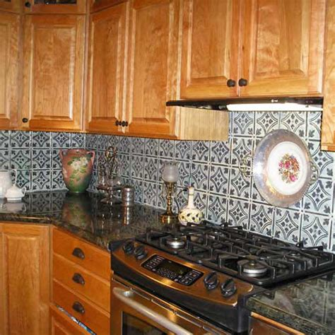 handpainted tin tile backsplash rustic tile ta