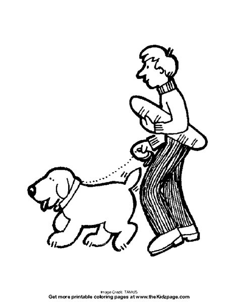 walking dog coloring page dog walker drawing