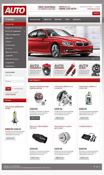 cars virtuemart template 44939 templates com