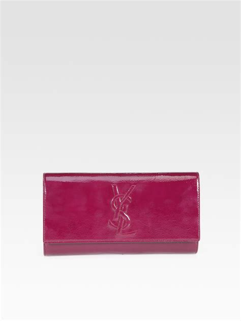 Inge Patent Leather Clutch by Lyst Laurent Ysl Large Patent Leather Clutch In