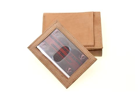 pull out leather genuine leather trifold wallet pull out id cover card