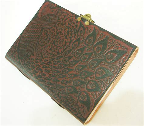 Handmade Paper Journal - handmade paper leather bound journal peacock embossed