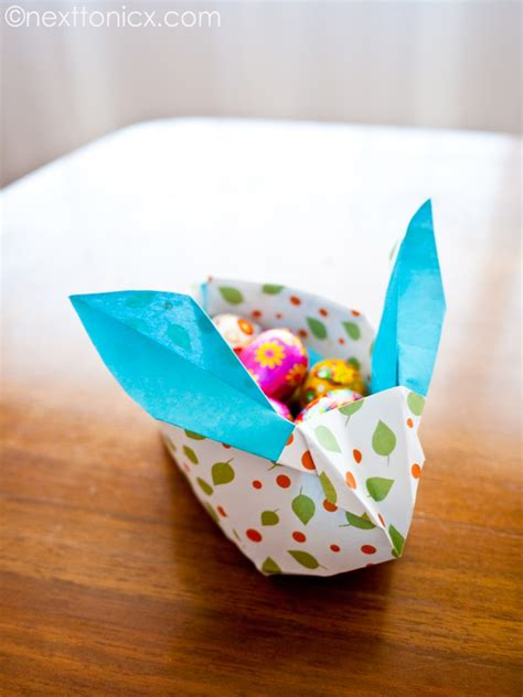 Origami Easter Basket - origami easter bunny basket next to nicx