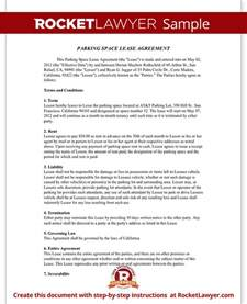 Space Rental Agreement Template Parking Space Rental Agreement Parking Lease Template