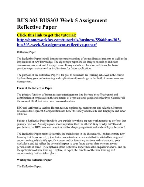 Apa Reflective Essay by 303 Bus303 Week 5 Assignment Reflective Paper