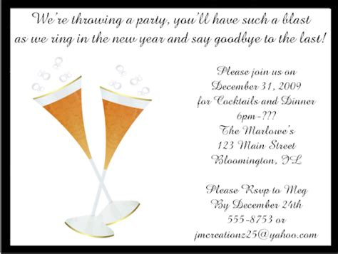 new years invite wording chagne flutes new years invitations
