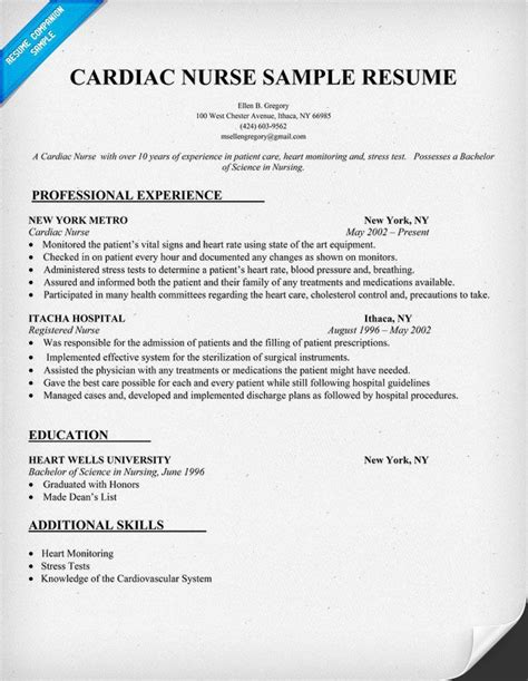Resume Samples Nursing by Cardiac Nurse Resume Sample Resumecompanion Com