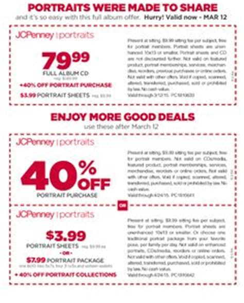 jcpenney portrait coupons printable 7 99 current jcpenney portraits offers on pinterest military