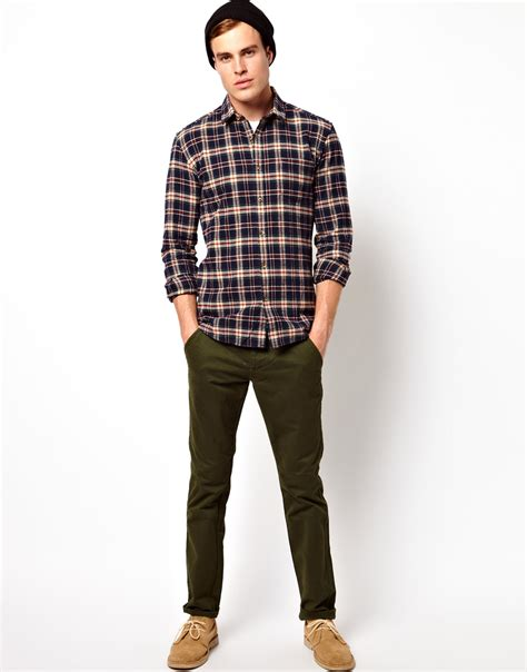 Kemeja Flannel Check Navy Green lyst asos selected check flannel shirt in black for