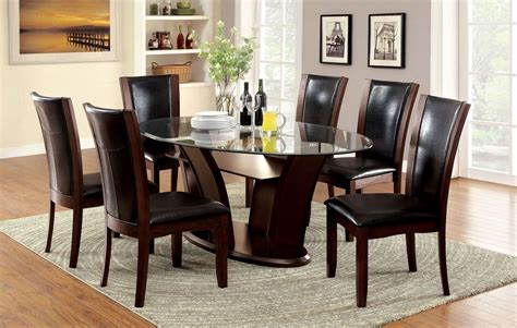 Dining Room Set Manhattan I Cherry Oval Pedestal Dining Room Set Cm3710ot Table Furniture Of America