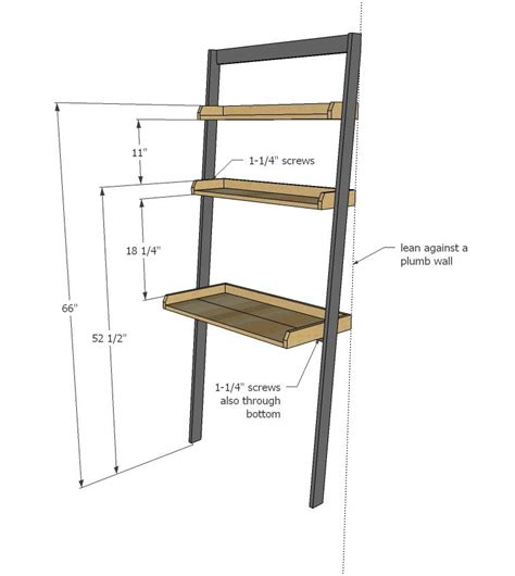 Ana White Build A Leaning Wall Ladder Desk Free And Ladder Desk White