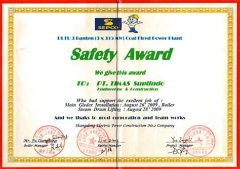 safety award certificate template pt timas suplindo onshore division