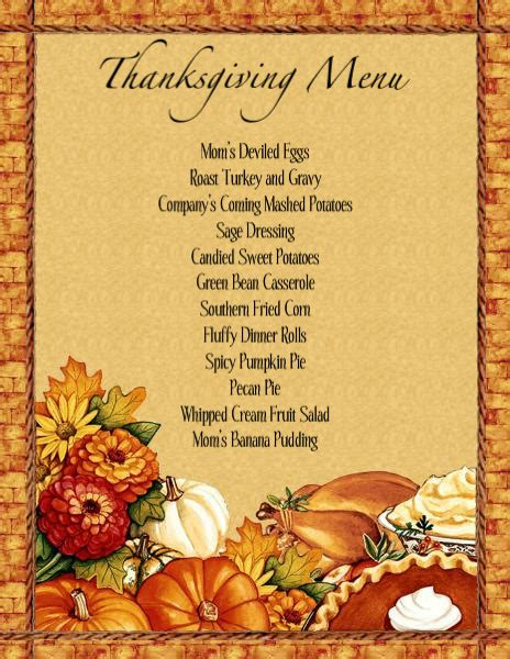 menu templates free download thanksgiving thanksgiving
