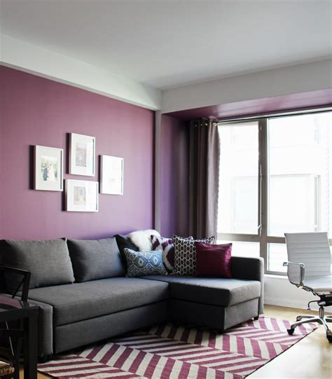grey and purple living room rich use of color in this contemporary living room the
