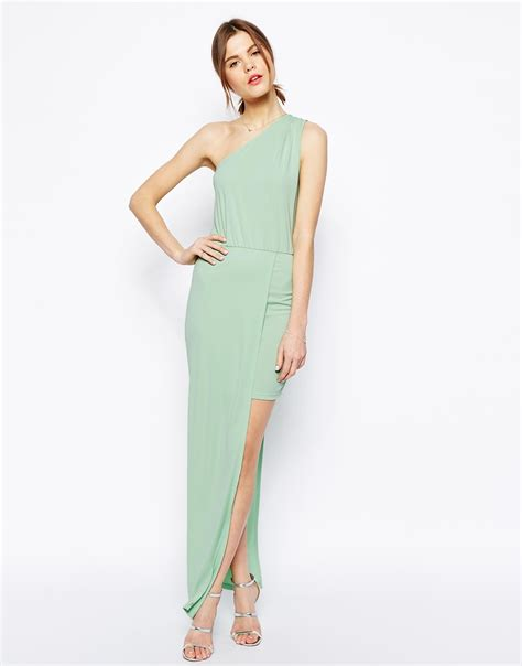 lyst asos maxi dress with asymmetric one shoulder in