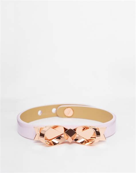 lyst ted baker leather bow bracelet in pink