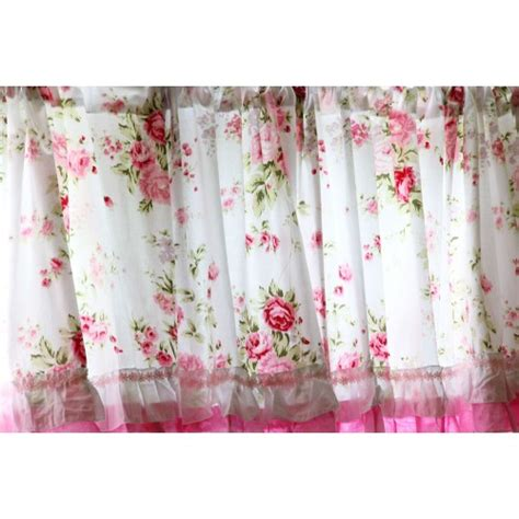 rose drapes shabby country chic rose ruffled wildflower pink white