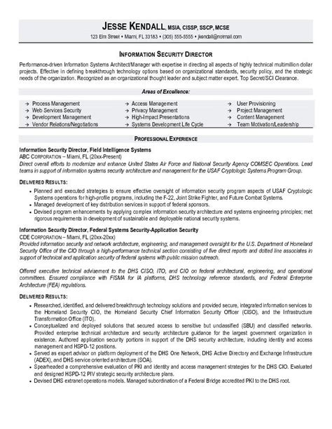 information security resume template exle information security director resume sle
