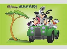 Mickey And Minnie Mouse Donald Duck Goofy Safari Cartoon ... Green Cartoon Characters