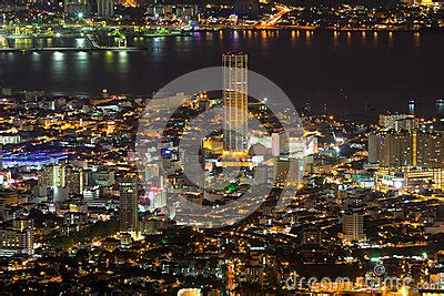 city lights georgetown times george town penang malaysia aerial view at stock