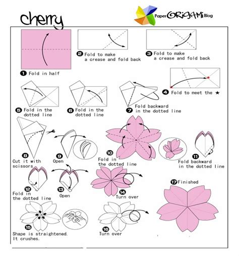 How To Make Origami Flowers Easy - flower origami cherry flower paper origami guide