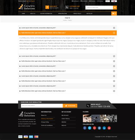 Complete Solution Multipurpose E Commerce Psd Template By Tmdstudio E Commerce Faq Template