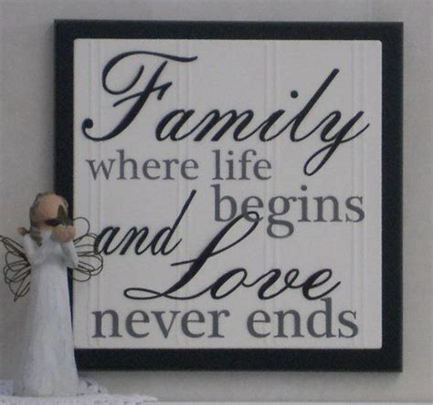 family wall decor plaques family where begins and never ends wooden