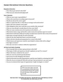 Resume Questions informational interviews