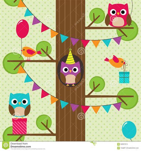 pattern birthday cute vector birthday owls pattern stock vector image 56901974