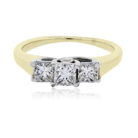 14k yellow gold 1ctw princess cut engagement ring
