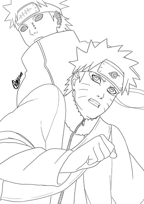 pain naruto coloring pages naruto vs pain lineart by renny08 on deviantart
