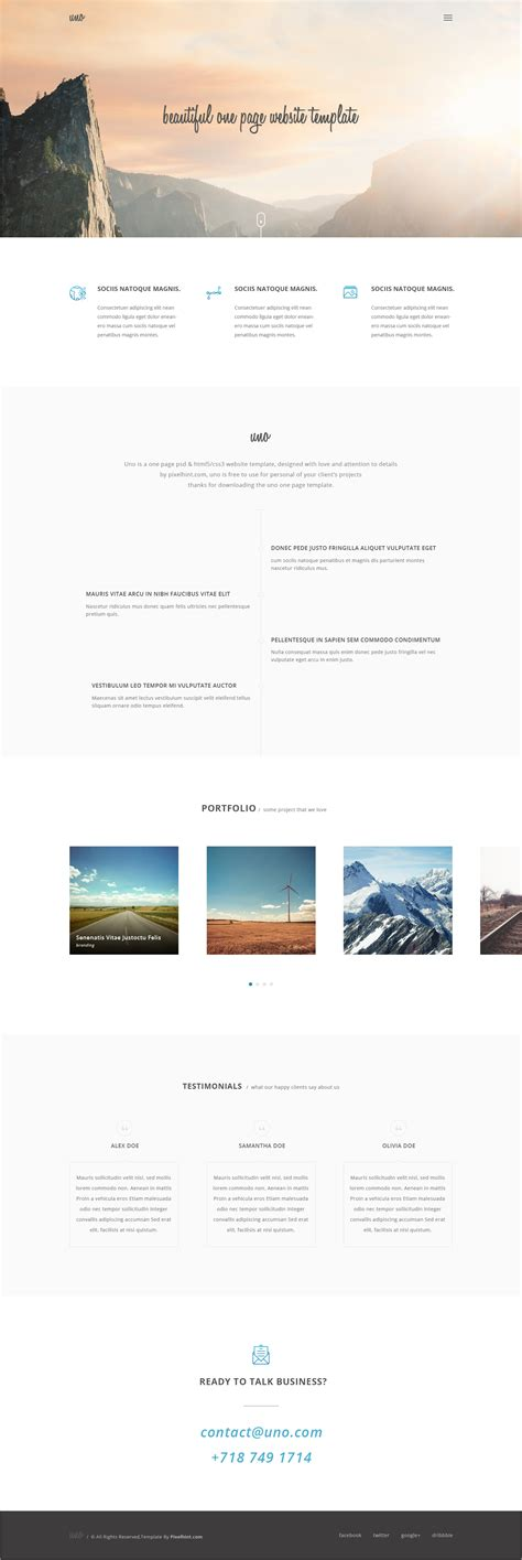 one page html5 template free uno html5 one page website template
