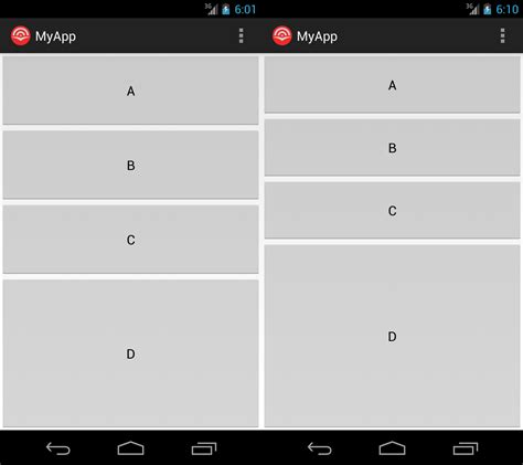 android table layout weight exle weights for tablelayout and linearlayout are not the same