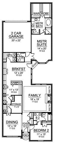 narrow one story house plans brookshire 4843 2 bedrooms and 2 5 baths the house designers