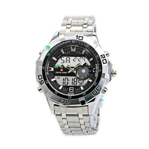Jam Tangan Pria Swiss Army 2091 Silver Hitam Original jual swiss army sa 2101 stainless steel jam tangan pria silver hitam id108345 harga