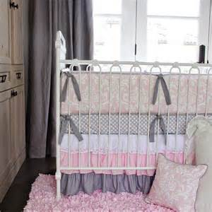 Design gt bedding gt girl sets gt pink and white lace damask crib bedding