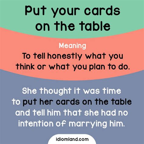 cards on the table idiom of the day put your cards on the table meaning to