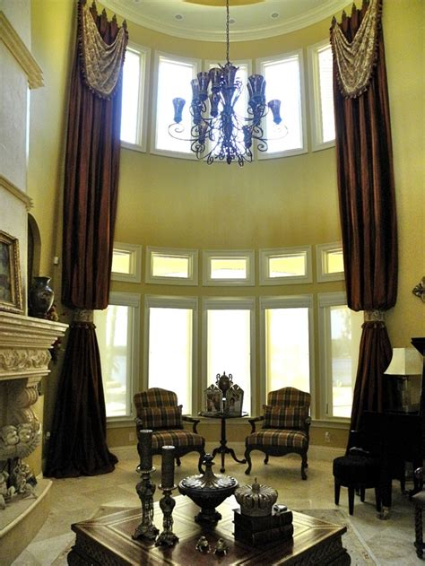 Two Story Curtains Two Story Drapes With Drapery Swags Mounted On 9 Quot Iron Medallions Drapes Fall