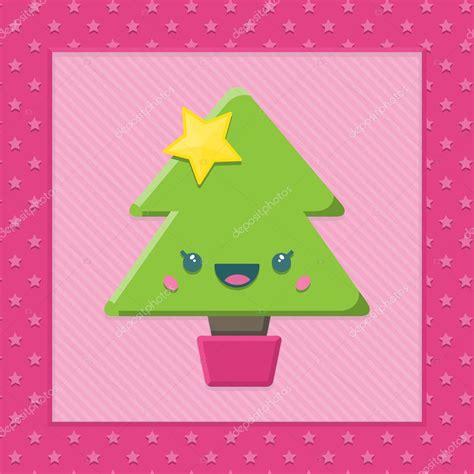 imagenes navideñas religiosas en color albero di natale di cartone animato kawaii vettoriali