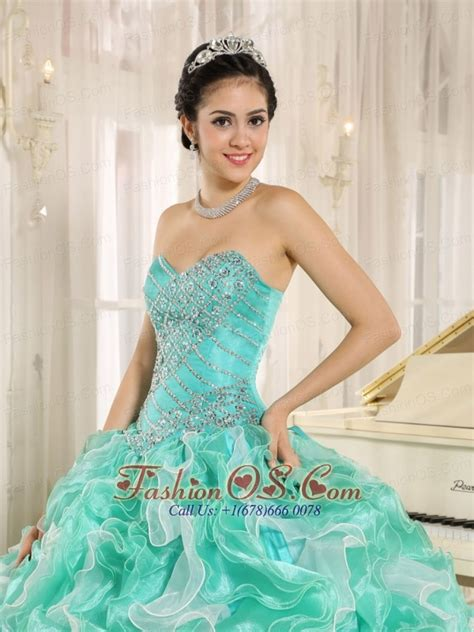 turquoise beaded bodice and ruffles custom made for 2013
