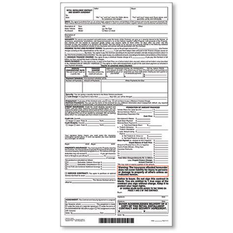 Retail Installment Contract Car Dealership Forms Retail Installment Contract Template