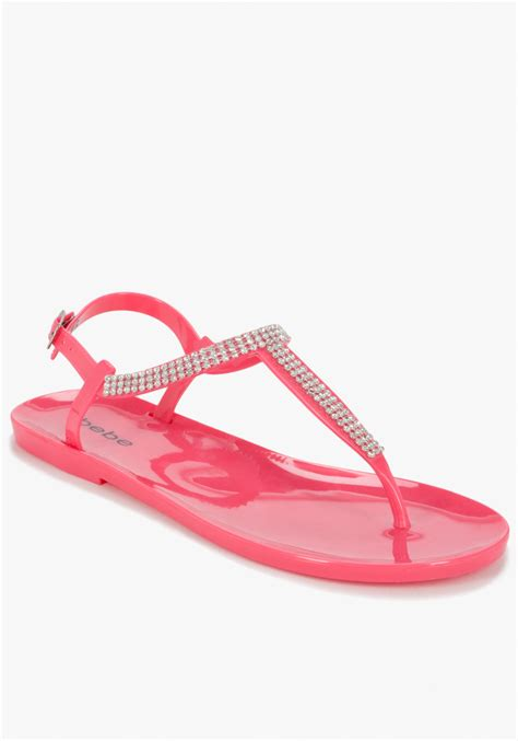 pink jelly sandals bebe marina jelly sandal in pink pink lyst