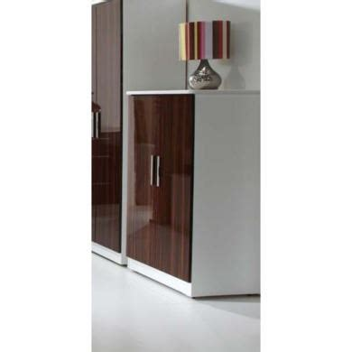 Low White Wardrobe by Welcome Furniture Hatherley High Gloss 2 Door Low Wardrobe