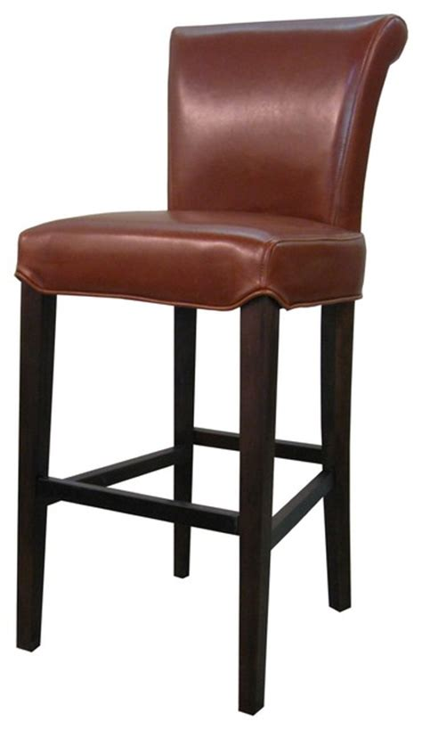 Cognac Leather Counter Stool by Bentley Genuine Split Leather Barstool Cognac Set Of 2