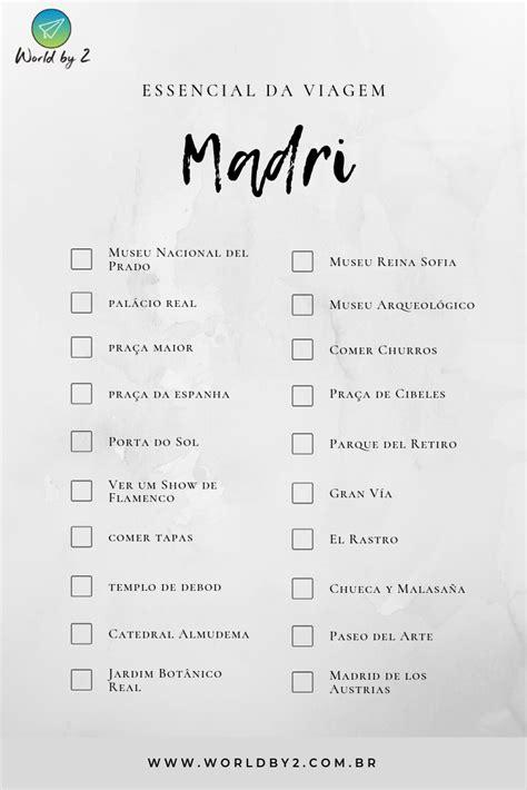 Check-List de Viagem por Madri - Compartilhe quanto locais