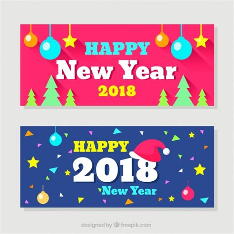new year 2018 banner happy new year 2018 banners vector free