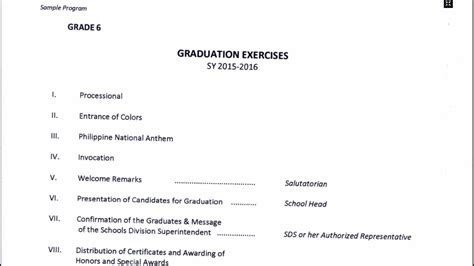 program flow for graduation of grade 6 and completion