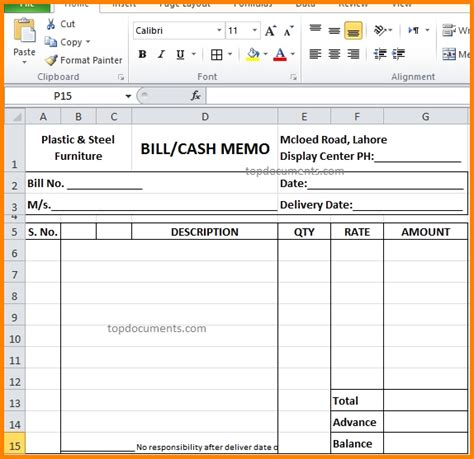 Memo Template Docx 8 Furniture Bills Format Simple Bill